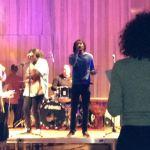 Emmanuel and band soundchecking
